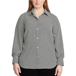 NEW Women's Chaps Checkered Button-Up Shirt Plus S